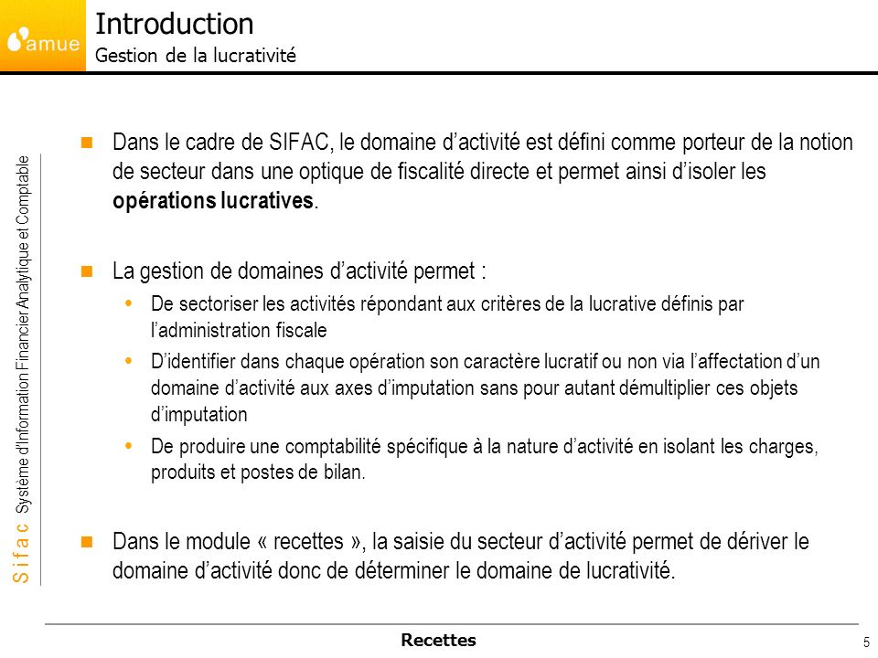 Introduction Gestion de la lucrativité