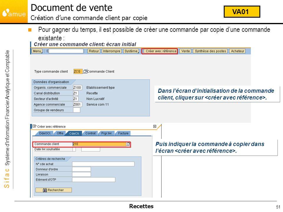 Document de vente Création d'une commande client par copie