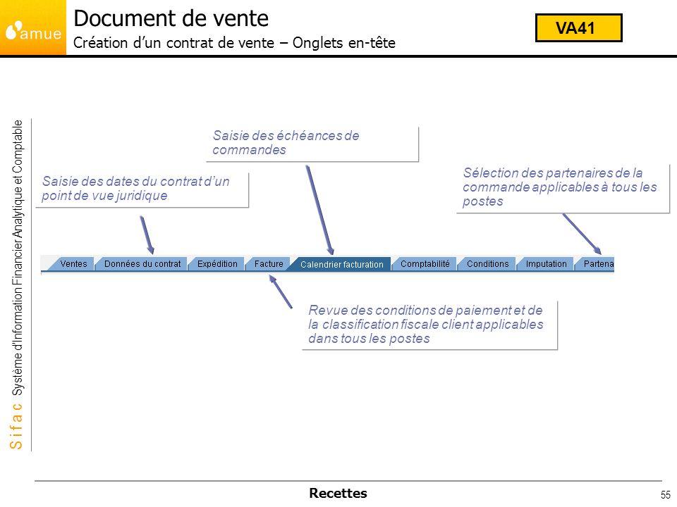 Document de vente Création d'un contrat de vente – Onglets en-tête