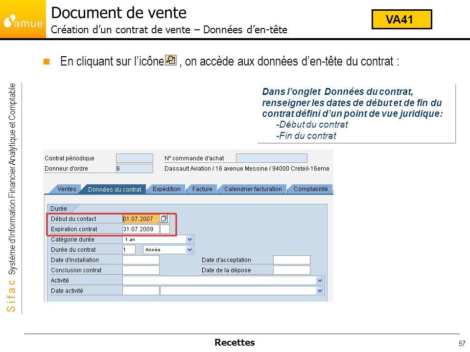 Document de vente Création d'un contrat de vente – Données d'en-tête