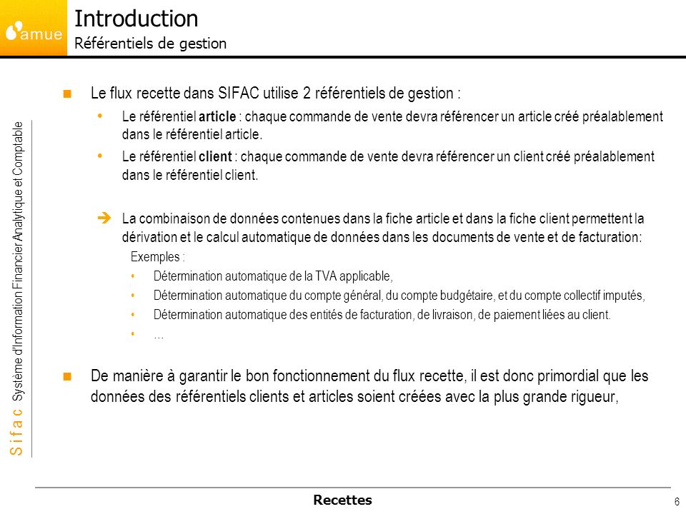 Introduction Référentiels de gestion