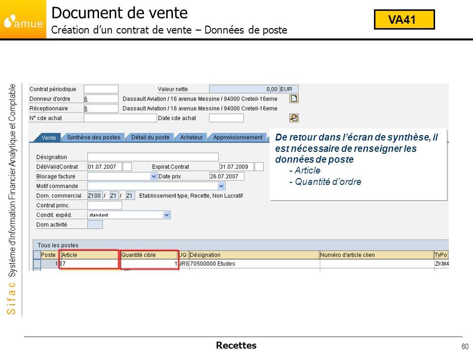 Document de vente Création d'un contrat de vente – Données de poste