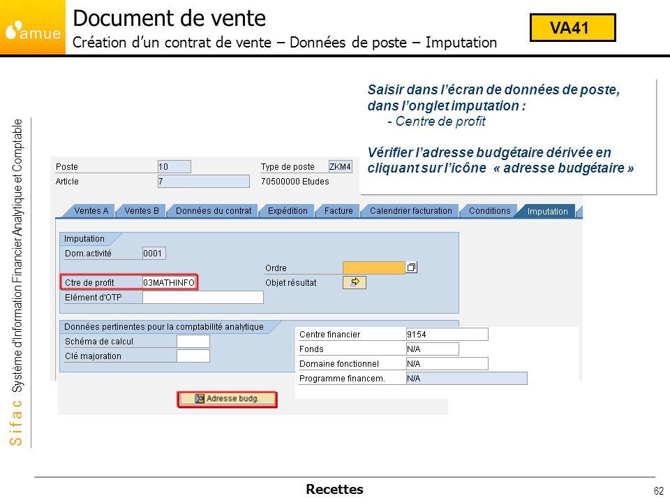 Document de vente Création d'un contrat de vente – Données de poste – Imputation