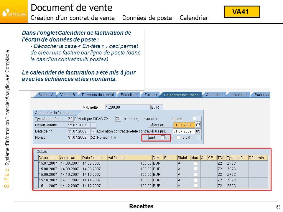 Document de vente Création d'un contrat de vente – Données de poste – Calendrier