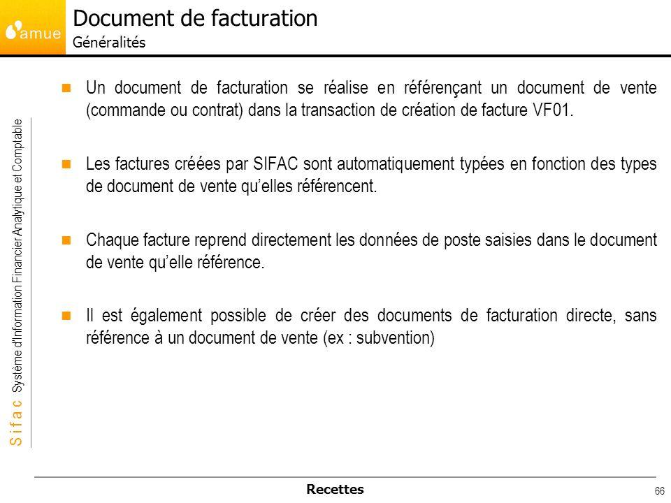 Document de facturation Généralités