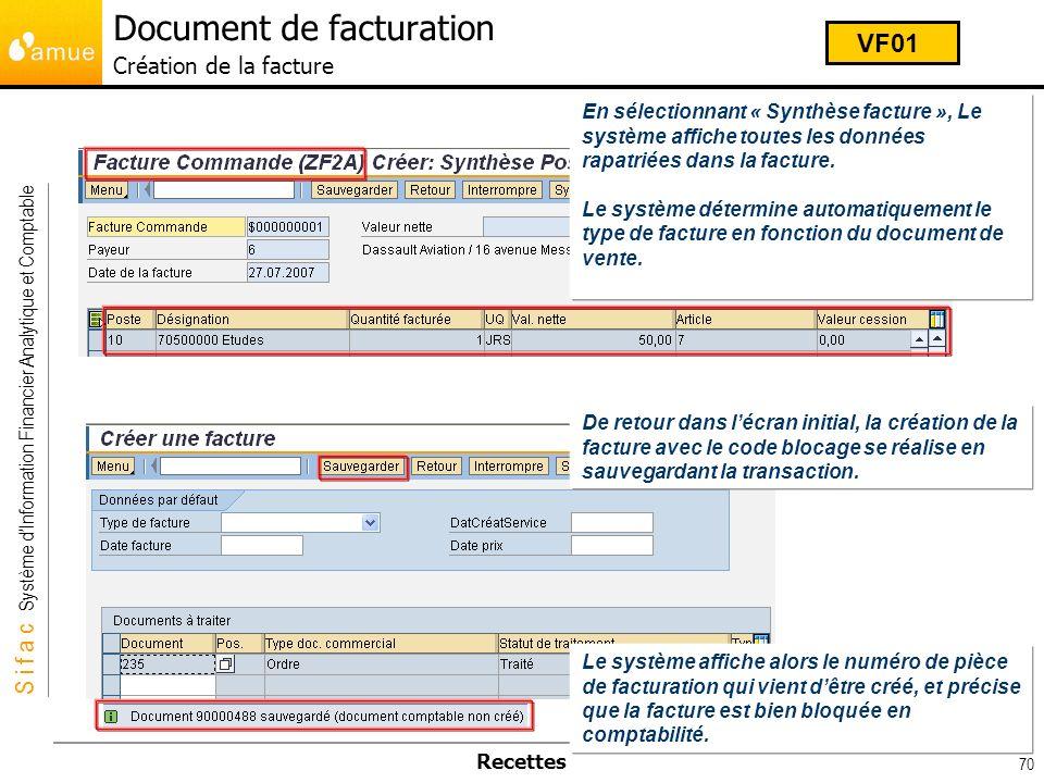 Document de facturation Création de la facture