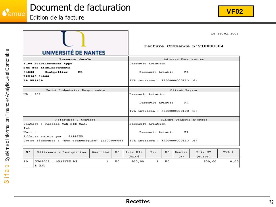 Document de facturation Edition de la facture