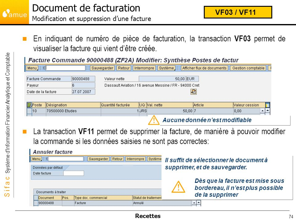 Document de facturation Modification et suppression d'une facture