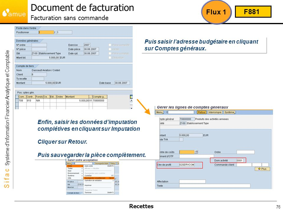 Document de facturation Facturation sans commande