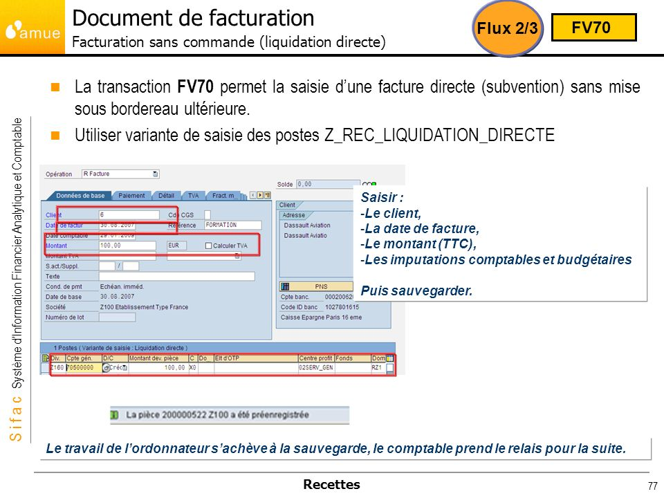 Document de facturation Facturation sans commande (liquidation directe)