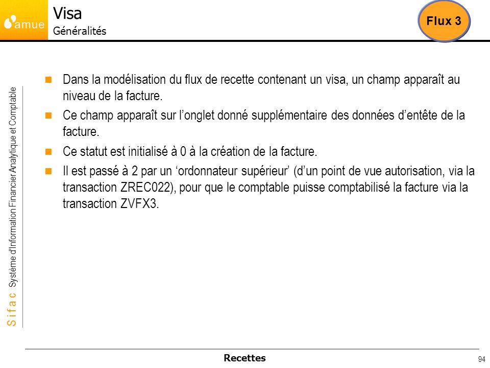 Visa Généralités Flux 3. Dans la modélisation du flux de recette contenant un visa, un champ apparaît au niveau de la facture.