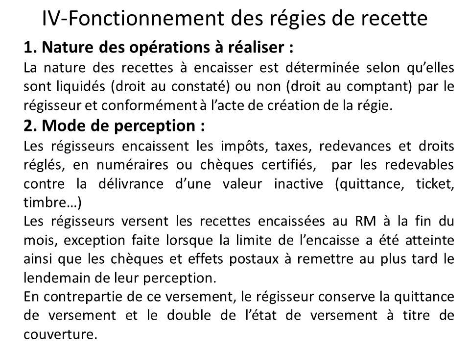 IV-Fonctionnement des régies de recette