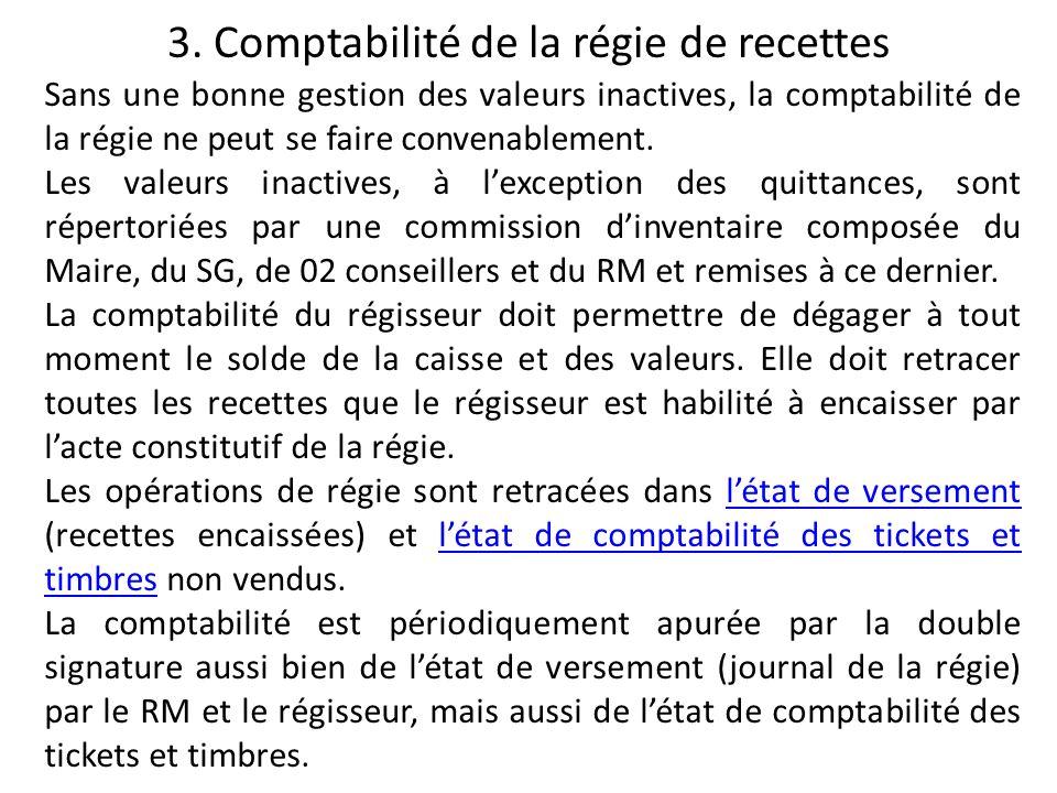 3. Comptabilité de la régie de recettes