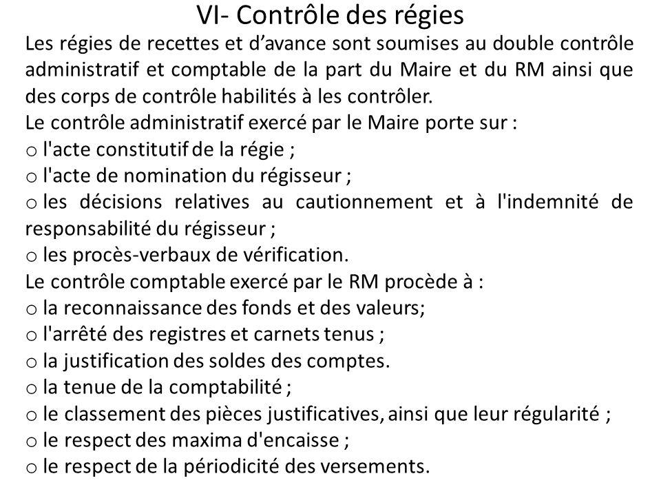 VI- Contrôle des régies