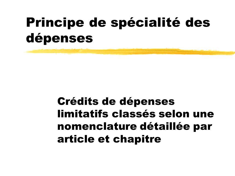 Principe de spécialité des dépenses