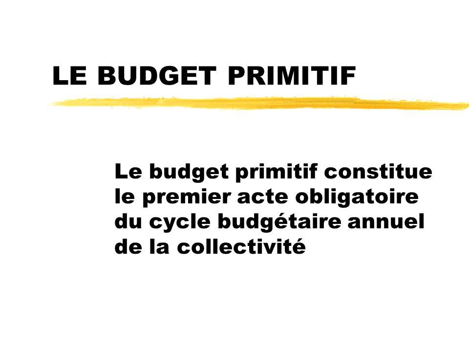LE BUDGET PRIMITIF Le budget primitif constitue le premier acte obligatoire du cycle budgétaire annuel de la collectivité.