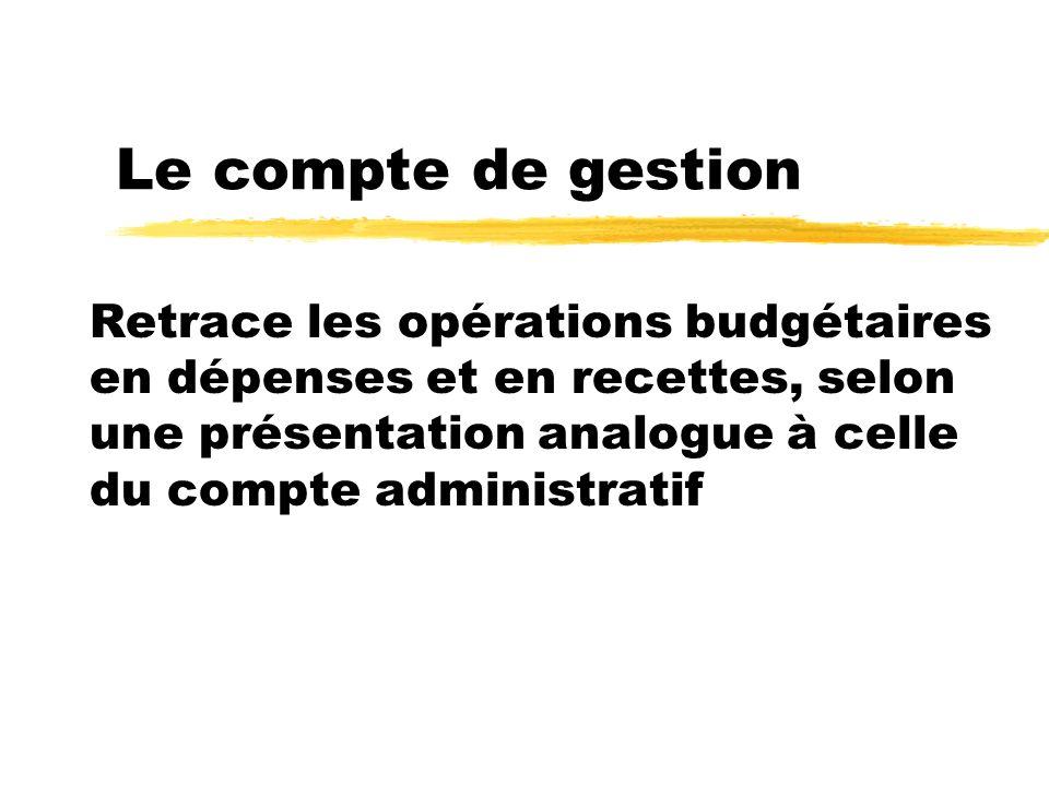Le compte de gestion Retrace les opérations budgétaires en dépenses et en recettes, selon une présentation analogue à celle du compte administratif.
