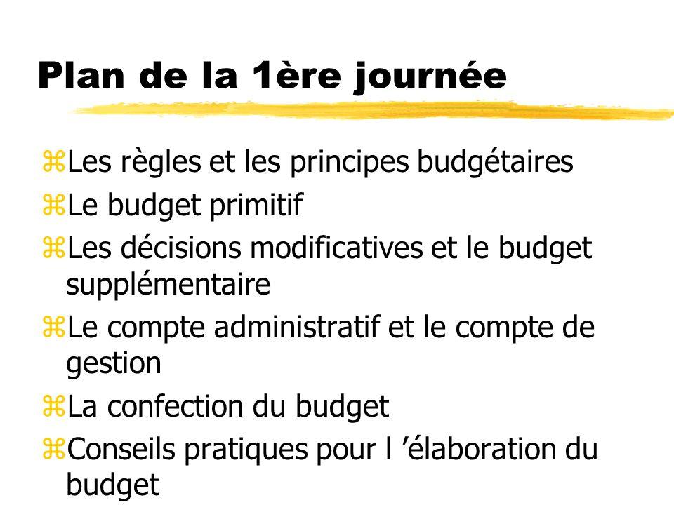 Plan de la 1ère journée Les règles et les principes budgétaires