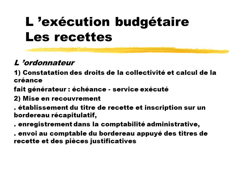 L 'exécution budgétaire Les recettes