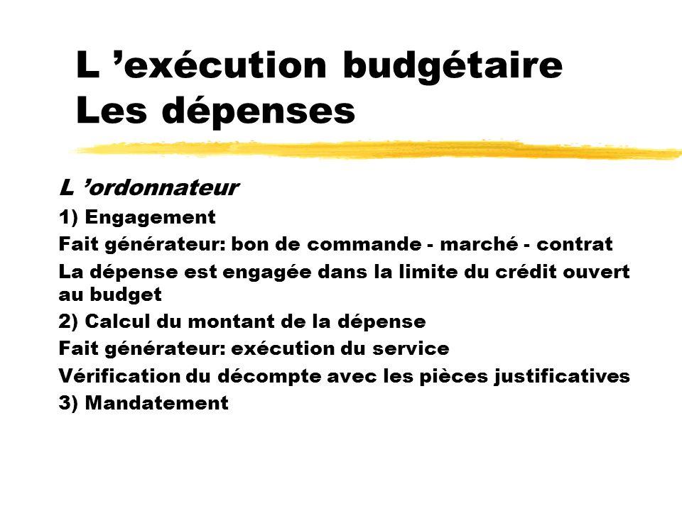 L 'exécution budgétaire Les dépenses