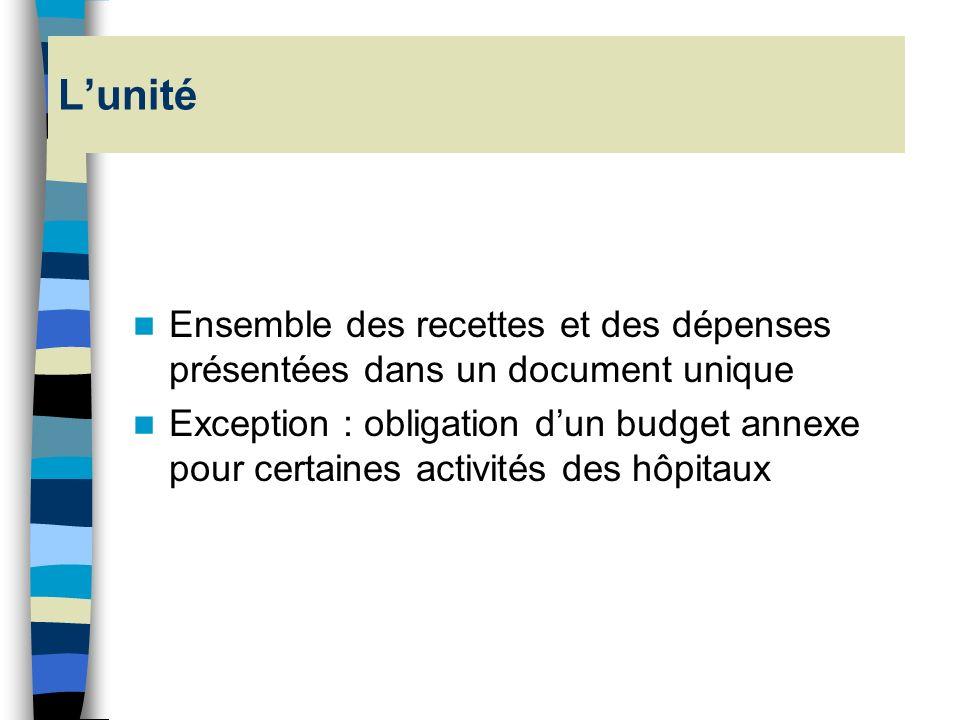 L'unité Ensemble des recettes et des dépenses présentées dans un document unique.