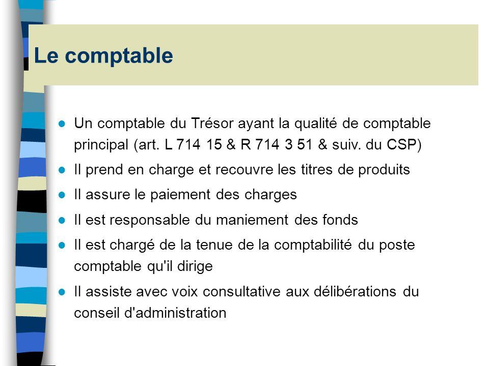 Le comptable Un comptable du Trésor ayant la qualité de comptable principal (art. L 714 15 & R 714 3 51 & suiv. du CSP)