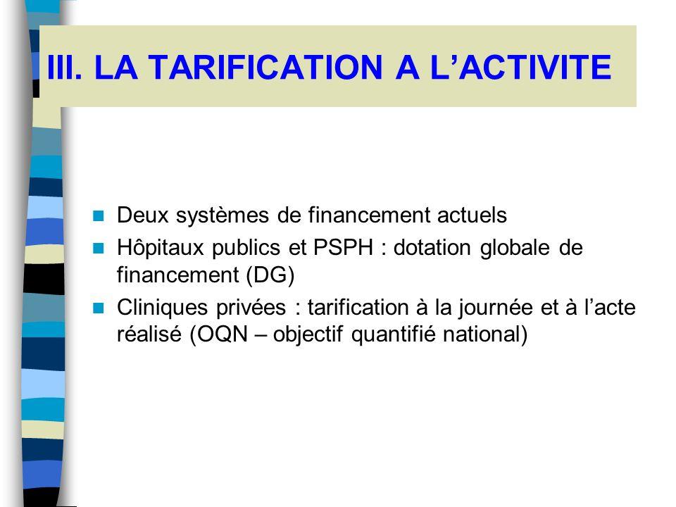 III. LA TARIFICATION A L'ACTIVITE