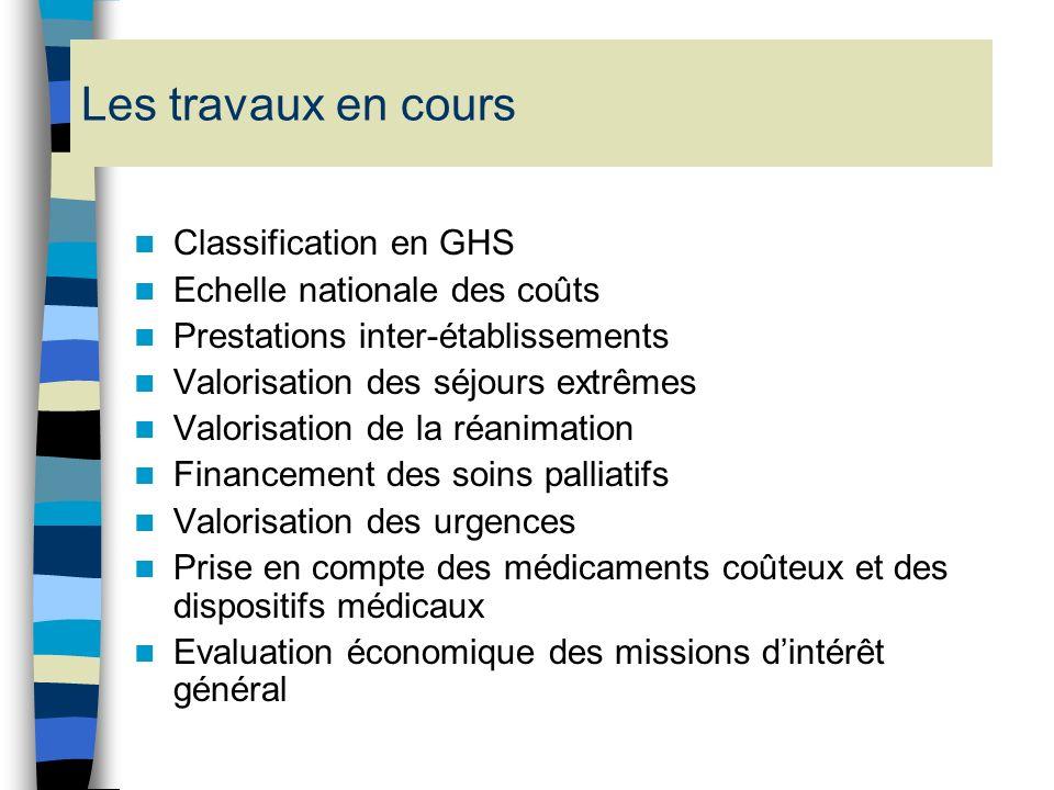 Les travaux en cours Classification en GHS Echelle nationale des coûts