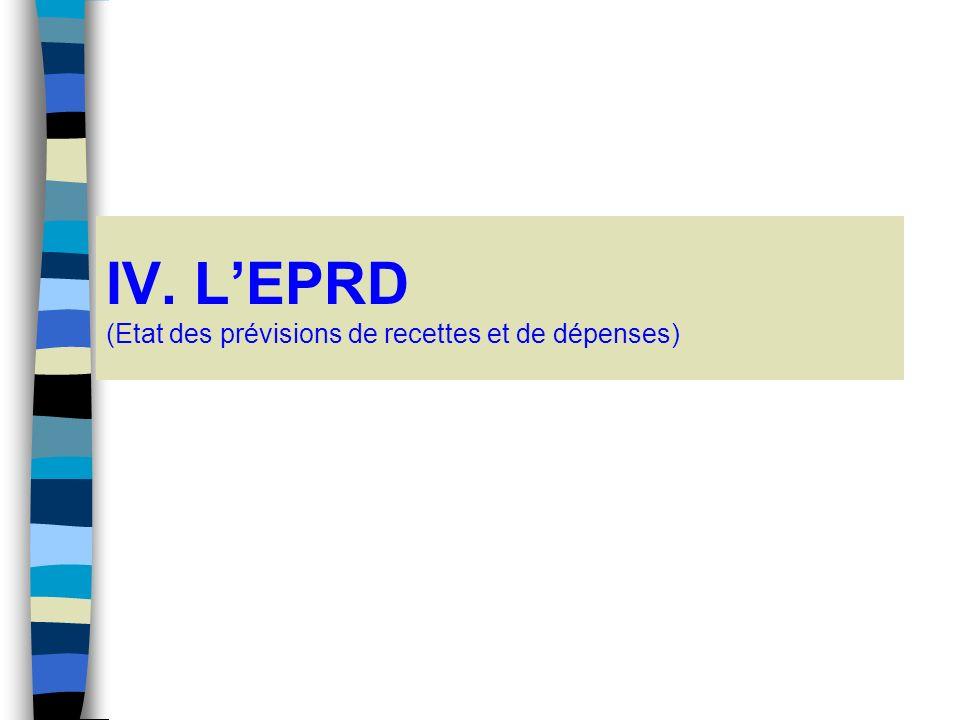 IV. L'EPRD (Etat des prévisions de recettes et de dépenses)