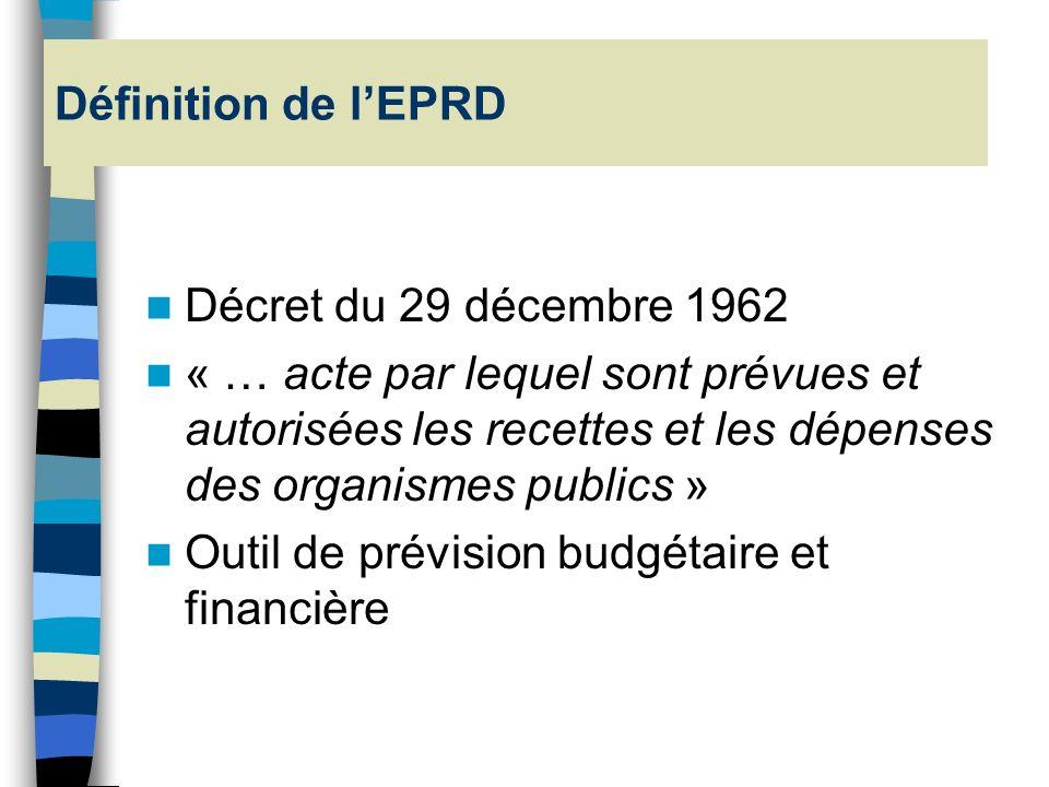 Définition de l'EPRD Décret du 29 décembre 1962.