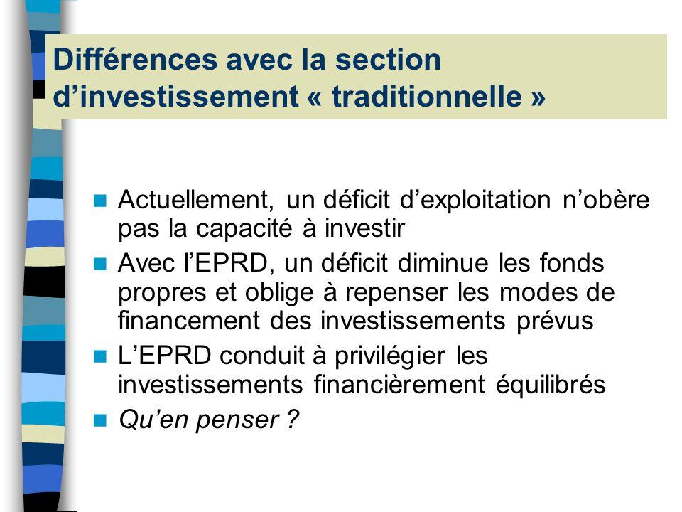 Différences avec la section d'investissement « traditionnelle »