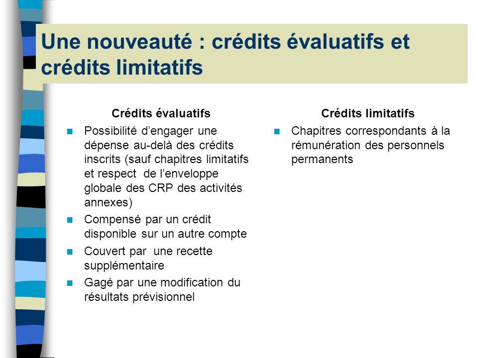 Une nouveauté : crédits évaluatifs et crédits limitatifs