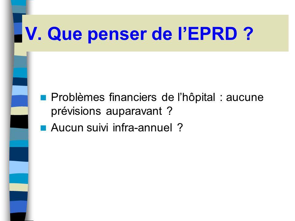 V. Que penser de l'EPRD . Problèmes financiers de l'hôpital : aucune prévisions auparavant .