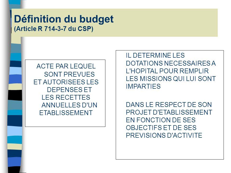 Définition du budget (Article R 714-3-7 du CSP)