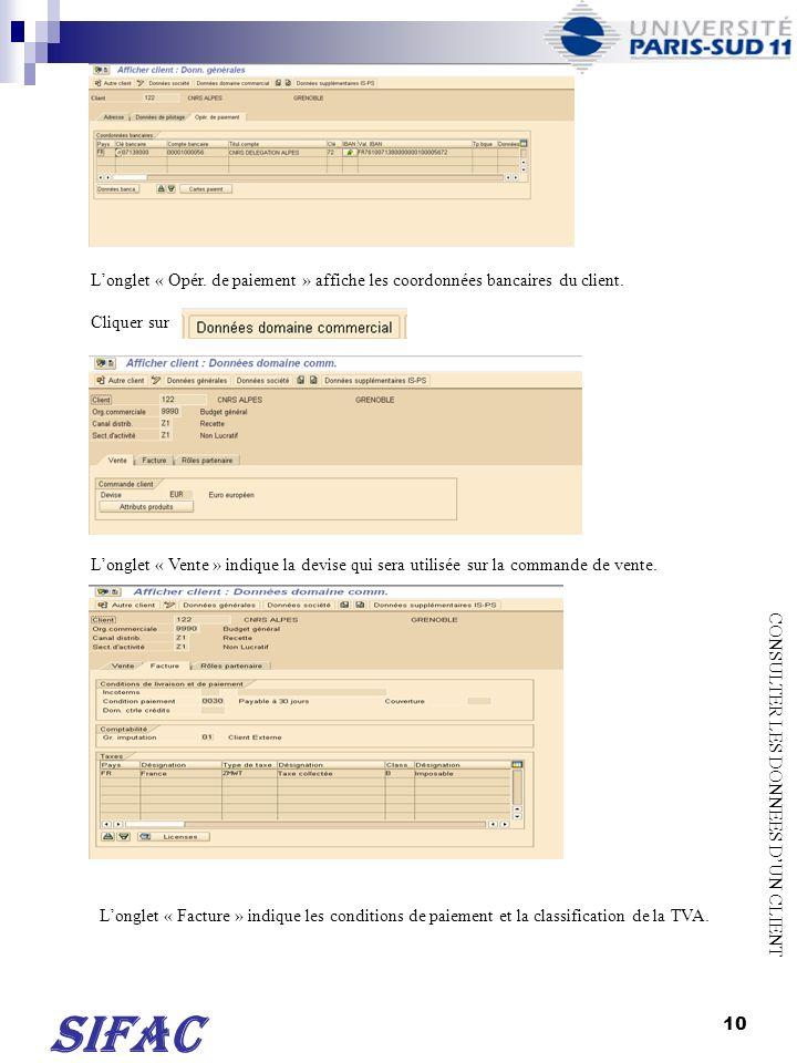 L'onglet « Opér. de paiement » affiche les coordonnées bancaires du client.