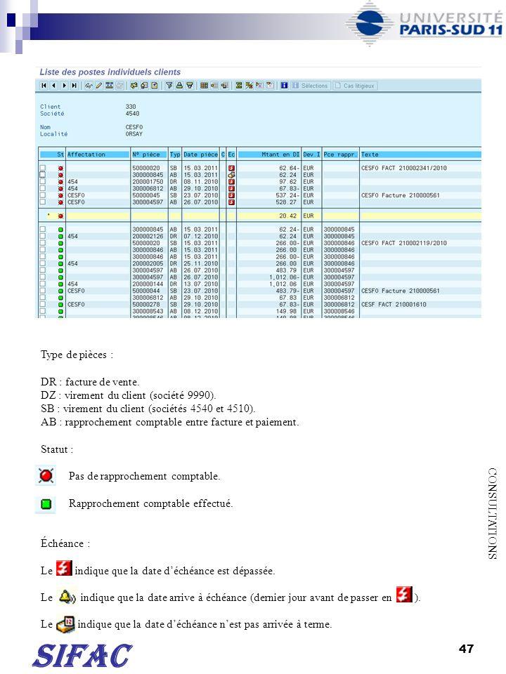 SIFAC Type de pièces : DR : facture de vente.
