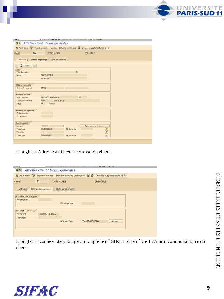 SIFAC L'onglet « Adresse » affiche l'adresse du client.