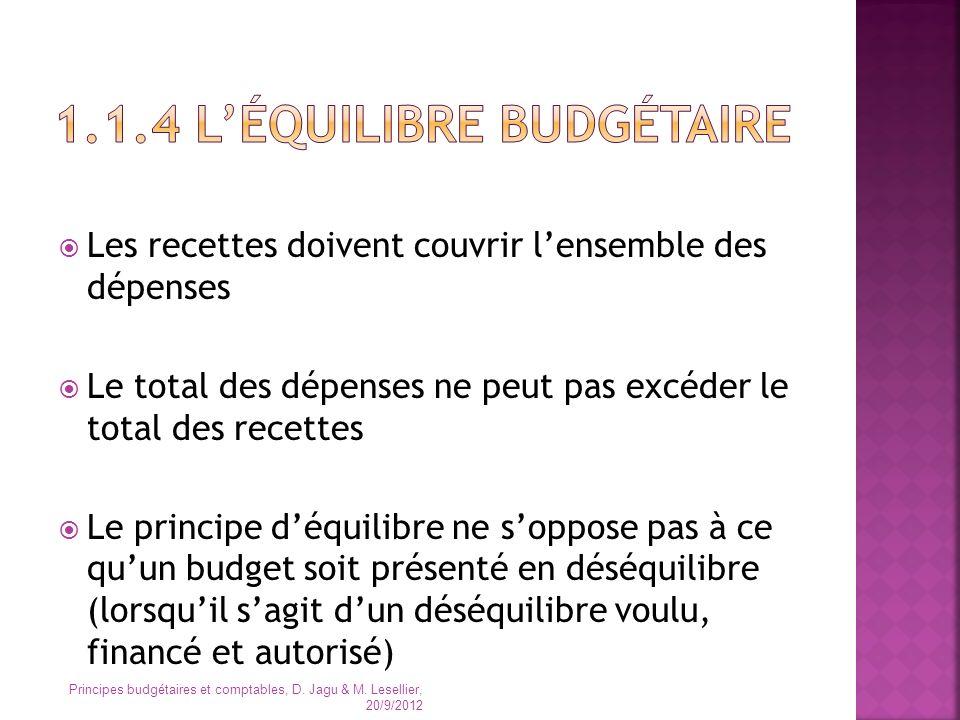 1.1.4 L'équilibre budgétaire