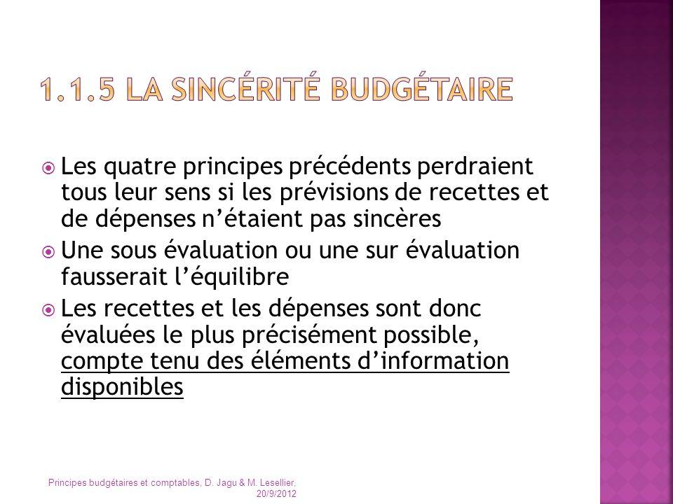1.1.5 La sincérité budgétaire