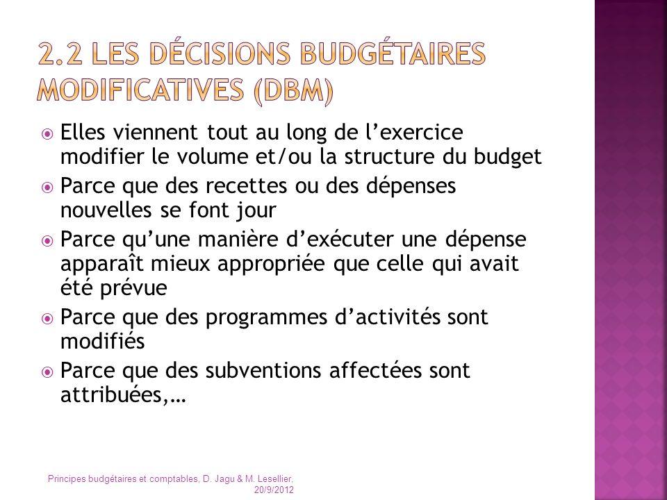 2.2 les décisions budgétaires modificatives (DBM)
