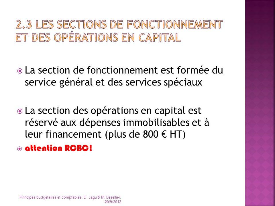 2.3 Les sections de fonctionnement et des opérations en capital