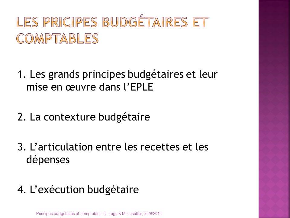 Les pricipes budgétaires et comptables