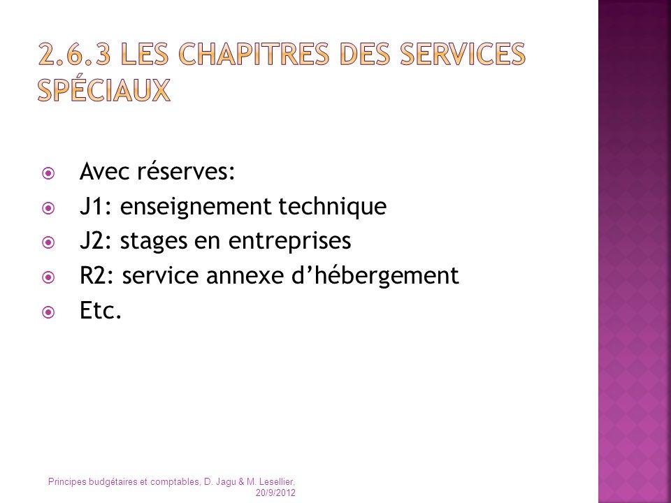 2.6.3 Les chapitres des services spéciaux