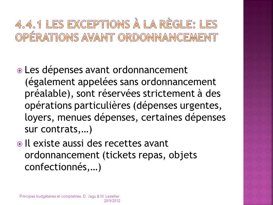 4.4.1 Les exceptions à la règle: les opérations avant ordonnancement