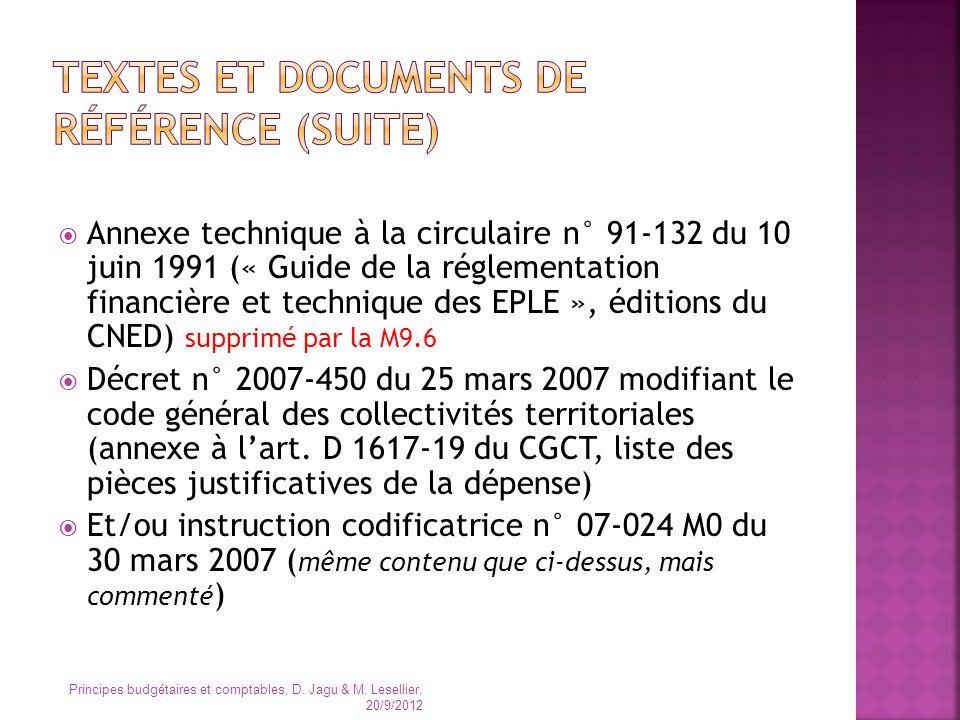 Textes et documents de référence (suite)