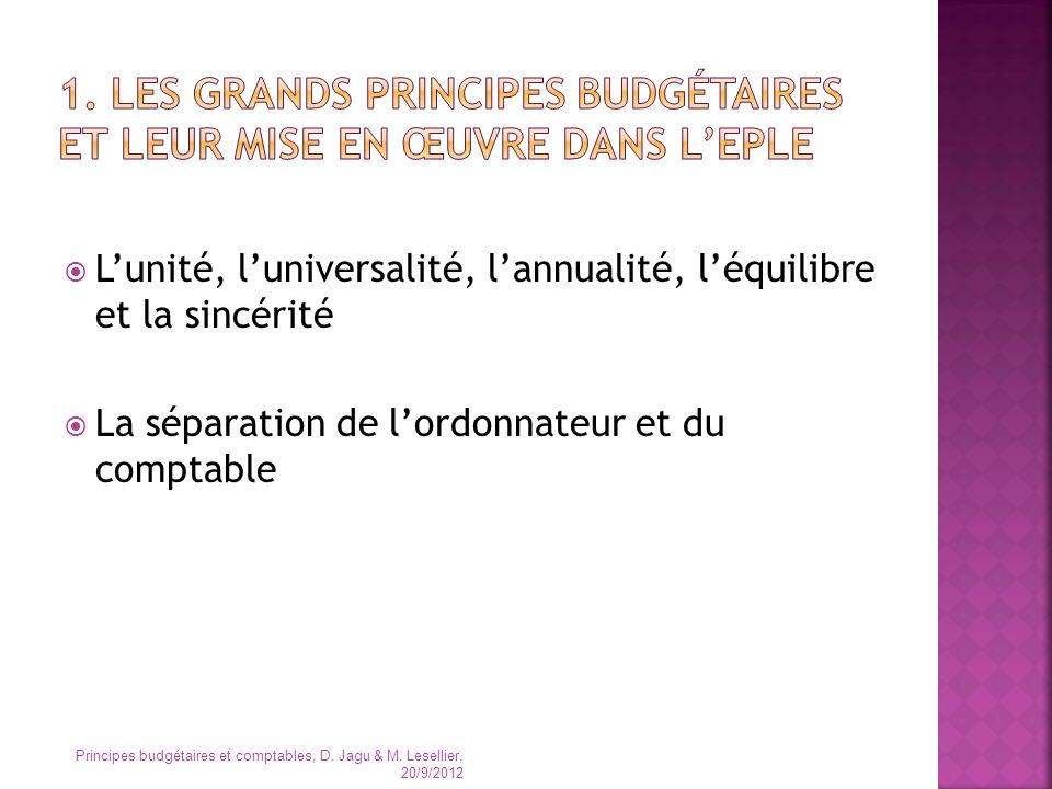 1. Les grands principes budgétaires et leur mise en œuvre dans l'EPLE