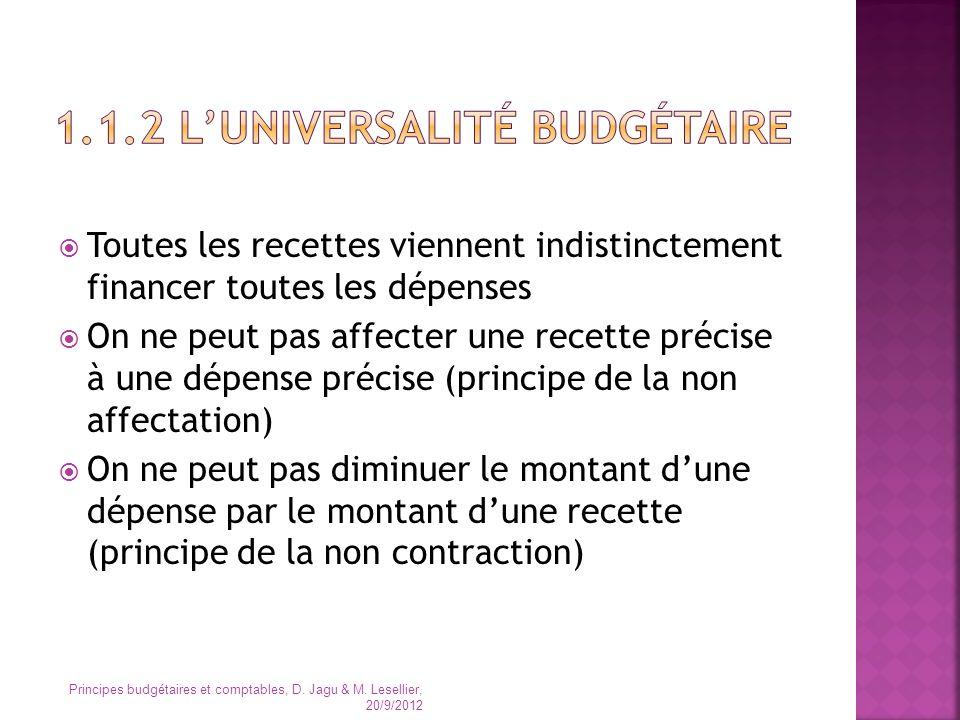 1.1.2 L'universalité budgétaire