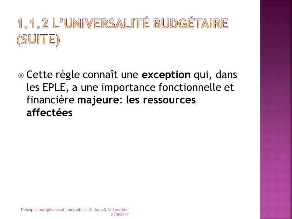 1.1.2 L'universalité budgétaire (suite)