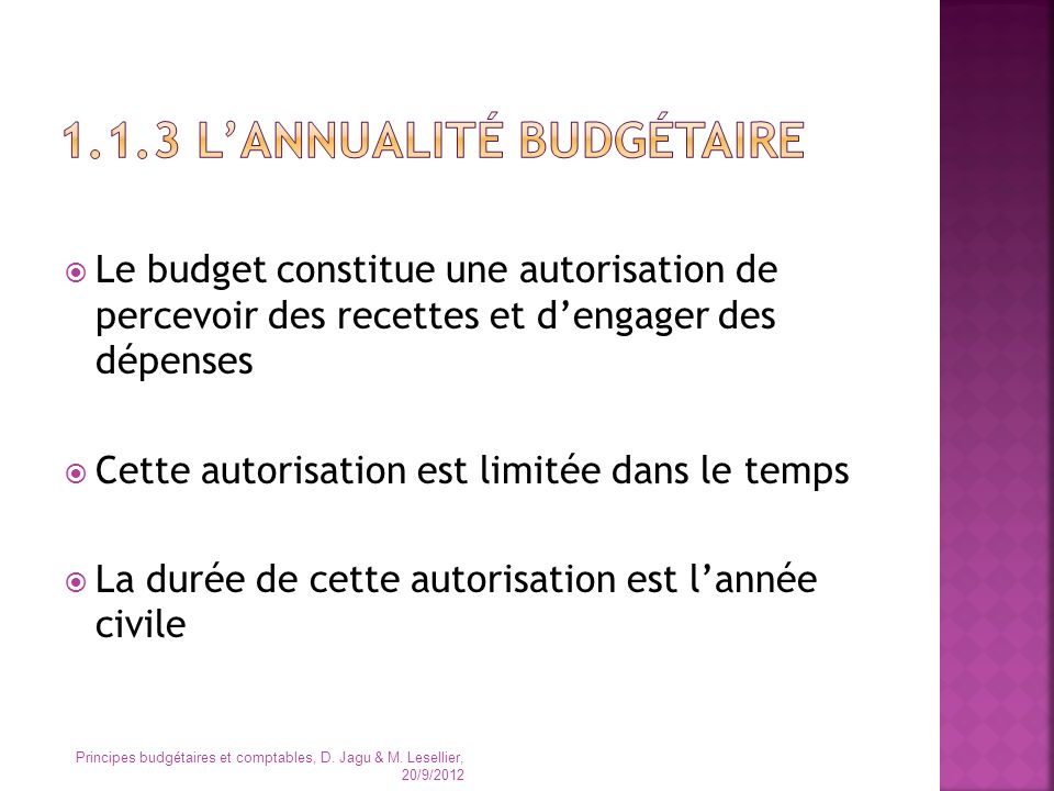 1.1.3 L'annualité budgétaire