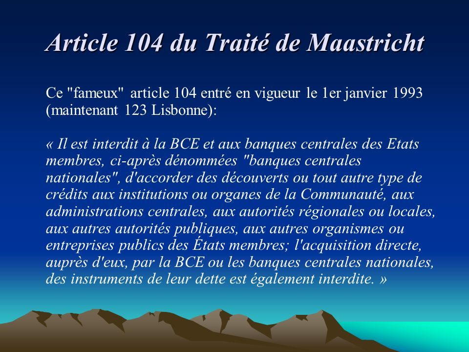 Article 104 du Traité de Maastricht